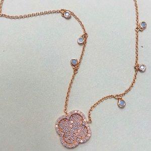 Opalescent Pavé Clover w/ Dangles set in Rose Gold